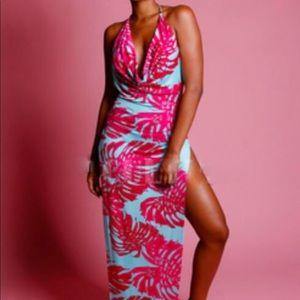 Dresses & Skirts - Leaf split maxi dress plus